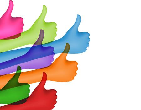 Partagez et suivez. Mains colorées avec les pouces vers le haut. Notion de réseau social. Positif et approbation. Communauté en ligne. Communication entre amis. Isolé. illustration 3D