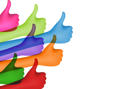 Share and follow. Colored hands with thumbs up. Social network concept. Positive and approval. Online community. Communication between friends. Isolated. 3d illustration