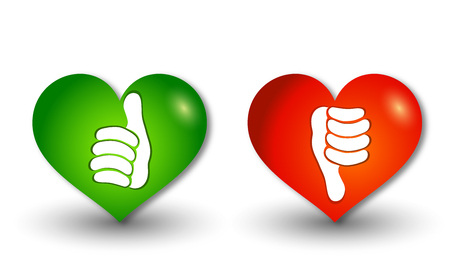 3d illustration icons heart-shaped buttons thumbs up green and thumb down red. Online voting symbol. Concept like it. Do not like Foto de archivo - 120582468