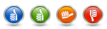 3d illustration. Icons green and blue thumb up - thumb down red - orange neutral thumb. Online voting symbol. Concept like it. Do not like Foto de archivo - 120582469