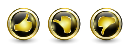 Gold luxury buttons icons. Thumb up positive - neutral thumb - thumb down negative. Online voting symbol. Concept like it. Do not like. 3d illustration Foto de archivo - 120582480