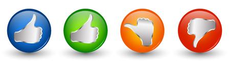 Pulsanti icona illustrazione 3d. Pollice in su verde e blu - pollice neutro arancione - pollice in giù rosso. Simbolo di voto online. Concetto simile. Non piace