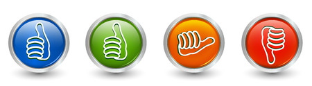 Icons green and blue thumb up - thumb down red - orange neutral thumb. Online voting symbol. Concept like it. Do not like. 3d illustration Foto de archivo - 120582489