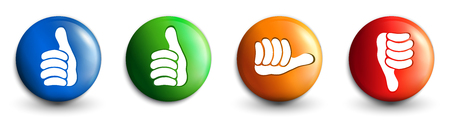 Set icons buttons. 3d illustration. Thumbs up green and blue - orange neutral thumb - thumb down red. Online voting symbol. Concept like it. Do not like Standard-Bild