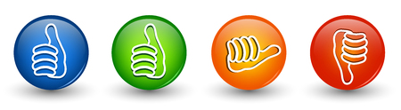 Set icons buttons. Thumbs up green and blue - orange neutral thumb - thumb down red. Online voting symbol. Concept like it. Do not like. 3d illustration Foto de archivo - 120582524