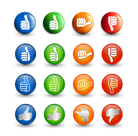 Set icons buttons. Thumbs up green and blue - orange neutral thumb - thumb down red. Online voting symbol. Concept like it. Vote. Do not like. 3d illustration Foto de archivo - 120582534