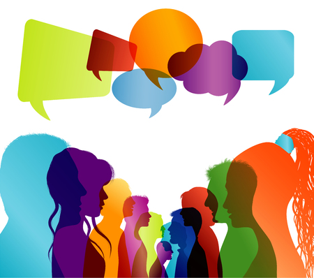 Group of isolated multicolored people talking. Faces silhouette head profile. Networking communication. Crowd speaks. Speech bubble. Dialogue with multi-ethnic people. Social network