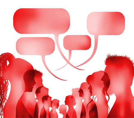 Crowd speaks. Speech bubble. Group of isolated people talking. Red silhouette head profile faces. Networking communication. Dialogue with multi-ethnic people. Social network. Multiple exposure