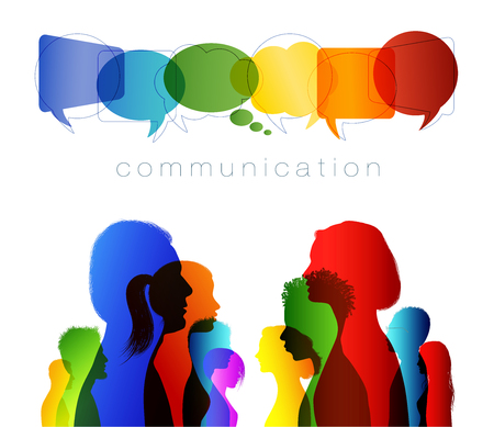 Crowd speaks. Speech bubble. Group people in profile talking silhouette. Social networking communication. Concept to communicate. Multicolored clouds. Talk. isolated
