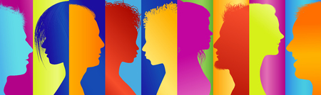 Community. Diversity multicolored silhouette profile. Group of people talking. Communication people. Connected crowd. Social media. Concept networking Banco de Imagens