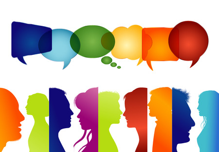 Group of isolated people in profile colored silhouette. Speech bubble. People talking. Communicate in social media. Talk on the net. To speak
