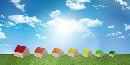 Concept house heating. Save electricity and gas. Ecological housing. Construction with renewable energy heating. Clean environment. Series of houses forming Energy efficiency scale Stock Photo