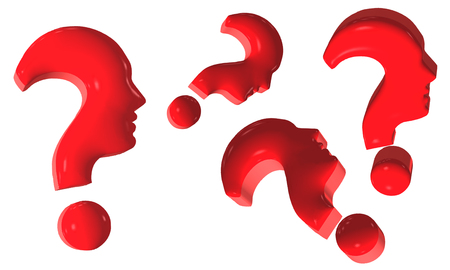 Concept isolated red question marks forming human profile in profile on a white background. 3d illustration