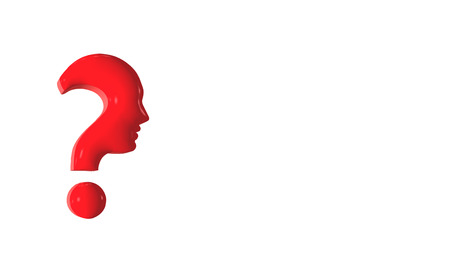 Concept red question mark forming human profile in profile. 3d illustration