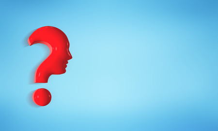 Isolated red question mark forming a human profile face on a blue background. 3d illustration Stock Photo