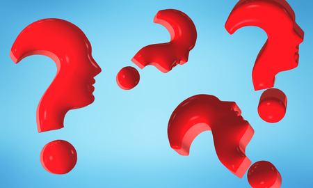 Isolated red question marks forming human faces in profile. 3d illustration