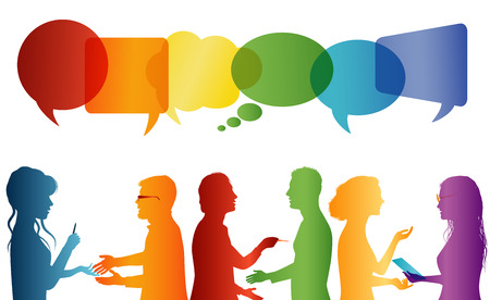 Communication between large group of people who talk. Crowd talking. Communicate social networking. Dialogue between people. Multicolored profile silhouette. Speech bubble