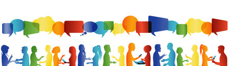 Crowd talking. Communication between large group of people who talk. Communicate social networking. Dialogue between people. Rainbow colors profile silhouette. Speech bubble