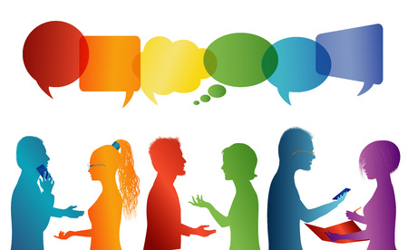 Speech bubble. Communication between group of people who talk. Crowd talking. Communicate social networking. Dialogue between people. Multicolored profile silhouette