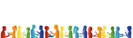 Community. Crowd talking. Association or meeting organization. Large group of people talking. Partnership concept. Formation. Unity and teamwork cooperation. Business people. Rainbow colors silhouette Stockfoto