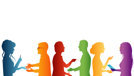 Cooperation between groups of people. Strategy solution and success. Concept teamwork. Speech among people. Young people who work well together. Association of people. Silhouette of colored profile