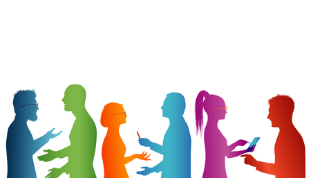Strategy solution and success. Cooperation between groups of people. Concept teamwork. Speech among people. Young people who work well together. Association of people. Silhouette of colored profile