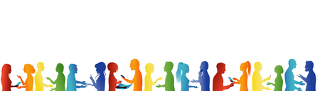 Group cooperation and success. Concept teamwork. Large group of people talking. Discussion between business people. Meeting organization. Conference. Rainbow colors silhouette Stockfoto