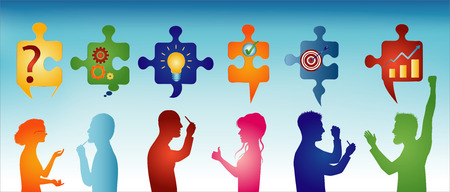 Colored profile people gesturing. Puzzle pieces with problem solving symbols. Business solution. Concept problem solving team. Strategy and success. Client service. Blue background Illustration
