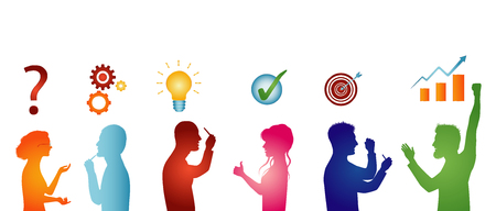 Concept problem solving team. Business solution. Analysis and finding a solution to the problems. Strategy and success. Client service. Silhouette isolated people in profile gesturing colorful