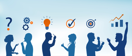 Concept problem solving team. Business solution. Analysis and finding a solution to the problems. Strategy and success. Client service. Silhouette people in blue profile color gesturing