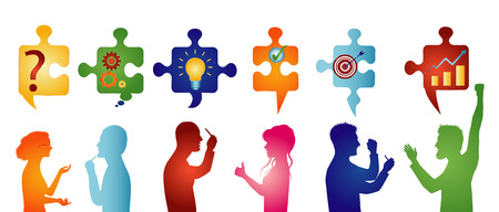 Puzzle pieces with problem solving symbols. Colored profile people gesturing. Business solution. Concept problem solving team. Strategy and success. Client service Illustration