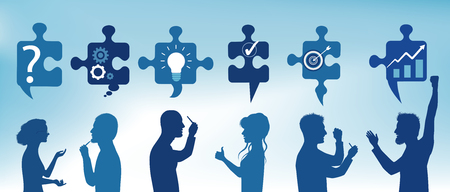 Puzzle pieces with solution symbols to problems with profile people who gesticulate. Business solution. Concept problem solving team. Strategy and success. Client service. Blue color Illustration