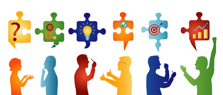 Colored profile people gesturing. Puzzle pieces with problem solving symbols. Business solution. Concept problem solving team. Strategy and success. Client service