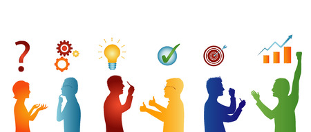 Concept problem solving team. Analysis and finding a solution to the problems. Business solution. Strategy and success. Client service. Silhouette isolated people in profile gesturing colorful Illustration