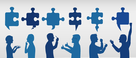 Profile people gesturing with puzzle pieces. Business solution. Concept problem solving team. Strategy and success. Client service. Blue and gray color Illustration