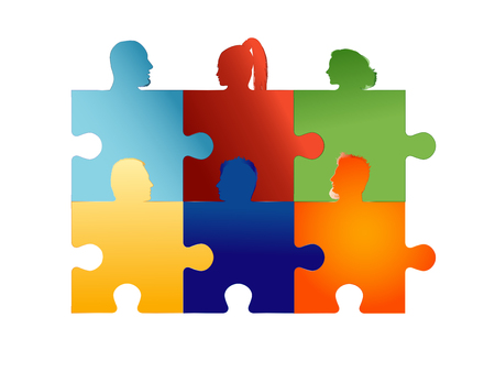 Concept teamwork or community. Group of silhouette people heads forming puzzle pieces. Association or partnership. Collaboration or friendship between colleagues or friends. Social media network