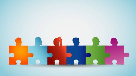Concept teamwork or community. Group of silhouette people heads forming puzzle pieces. Collaboration and competence. Association or partnership. Social media network. Problem solving Illustration