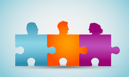 Group of colorful silhouette people heads forming puzzle pieces. Concept teamwork or community. Cooperation and competence. Association or partnership. Social media network. Problem solving Illustration
