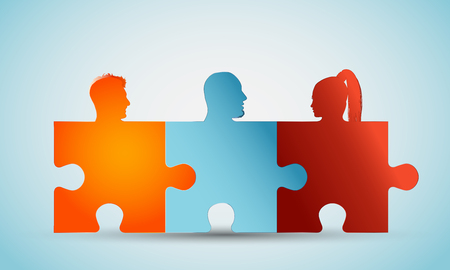 Group of colorful silhouette people heads forming puzzle pieces. Concept teamwork or community. Problem solving. Cooperation and competence. Association or partnership. Social media network