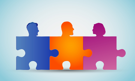 Group of colorful silhouette people heads forming puzzle pieces. Problem solving. Concept teamwork or community. Cooperation and competence. Association or partnership. Social media network