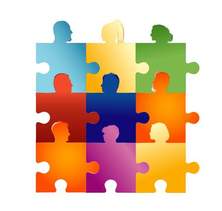 Gruppe von Silhouette-Leuteköpfen, die Puzzleteile bilden. Konzept-Teamarbeit oder Gemeinschaft. Partnerschaft oder Partnerschaft. Zusammenarbeit oder Freundschaft zwischen Kollegen oder Freunden. Social-Media-Netzwerk Vektorgrafik