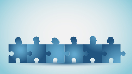 Group of silhouette people heads forming puzzle pieces. Problem solving. Concept teamwork or community. Collaboration and competence. Association or partnership. Social media network. Blue color