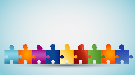 Problem solving. Concept teamwork or community. Group of colorful silhouette heads people forming puzzle pieces. Collaboration and competence. Association or partnership. Social media network