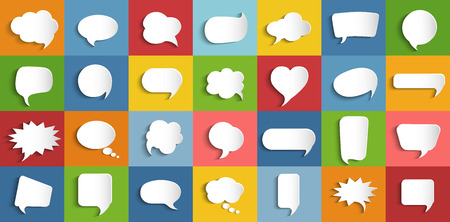 Collection modern vector clouds isolated. Paper chat cartoon shape and word box for entering text message. Set speech bubbles empty. Dialogue and communication bubble. Empty balloon