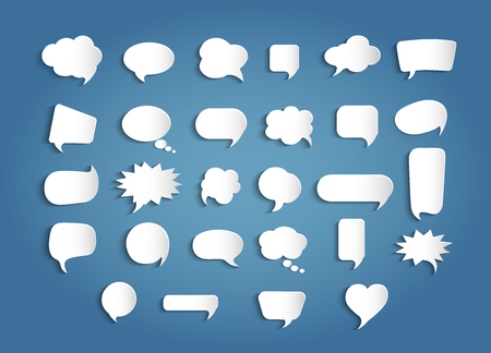 Paper chat cartoon shape and word box for entering text message. Set speech bubbles empty. Dialogue and communication bubble. Empty balloon. Collection modern vector clouds isolated