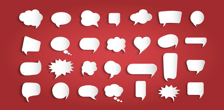 Set speech bubbles empty. Paper chat cartoon shape and word box for entering text message. Dialogue and communication bubble. Empty balloon. Collection modern vector clouds isolated