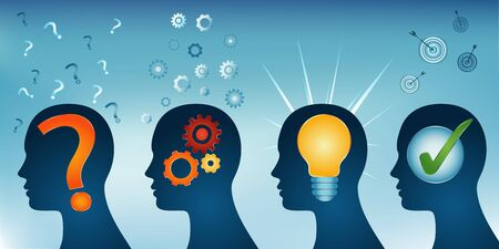 Problem thinking inspiration idea and success. Human head problem analysis solution concept. Head problem solving series. Blue background