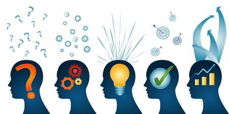 Human head series profile - problem - analysis - inspiration - idea - approval - solution and success. Problem solution concept. Strategy concept. isolated