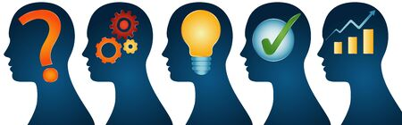 Human head series isolated profile - problem - analysis - inspiration - idea - approval - solution and success. Problem solution concept. Strategy concept