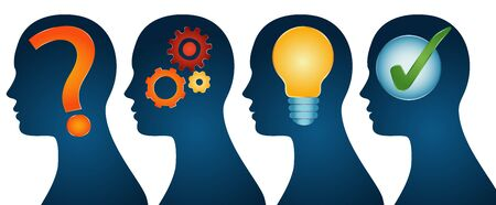 Problem thinking inspiration idea and success. Isolated Human head problem analysis solution concept. Head problem solving series